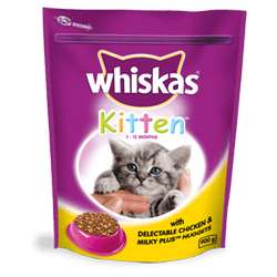 WHISKAS® Kitten Dry Chicken & Milky Plus Nuggets 1-12 Months