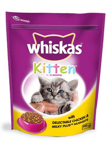 900g Whiskas® with Delectable Chicken and Milky Plus Nuggets 1-12Month Kitten