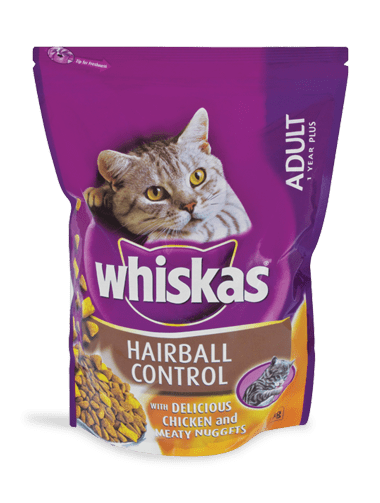 WHISKAS® Adult 1year plus Hairball Control with Chicken & Meaty Nuggets