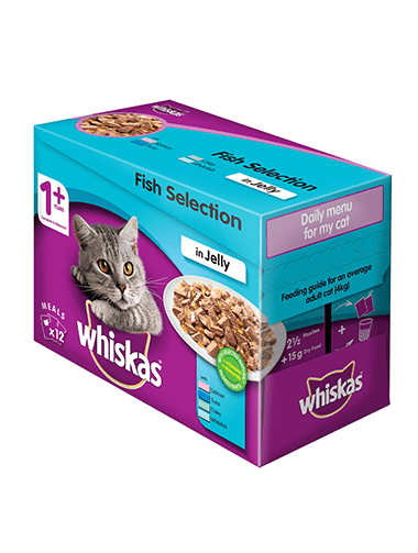 85g x 12 Whiskas® Fish selection in Jelly 1 Year +
