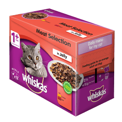 85g x 12 Whiskas® Meat selection in Jelly 1 Year +