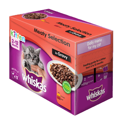 12 x 25g Whiskas Meaty selection in gravy kitten cat food