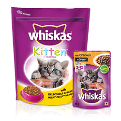 900g Whiskas® with Delectable Chicken and Milky Plus Nuggets 1-12 Month and 85g Whiskas® with Chicken in Gravy 2- 12 Month